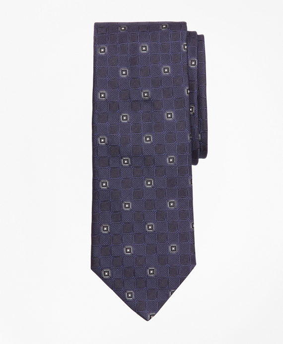 Textured Ground Double Square Tie Navy