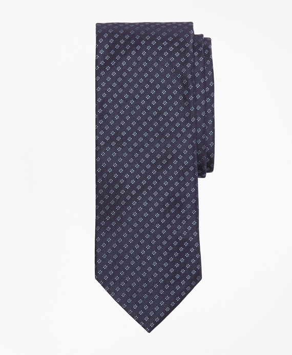 Dotted Flower Tie Navy