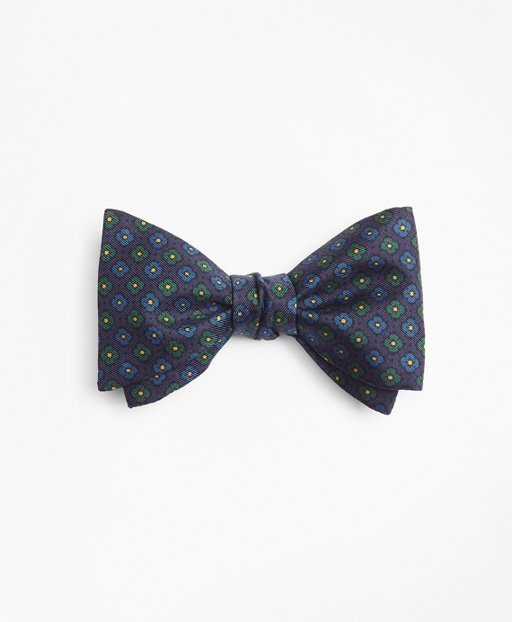 Mini-Flower Print Bow Tie Navy