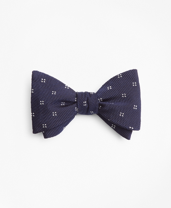 Square Dot Flower Bow Tie Navy