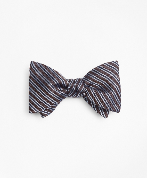 Textured Split Stripe Bow Tie Brown