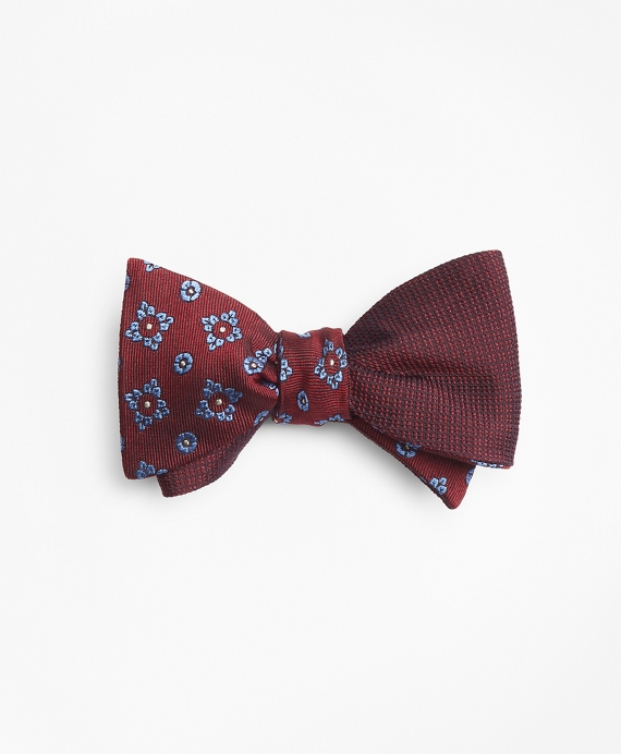 Textured Flower with Square Medallion Reversible Bow Tie Burgundy