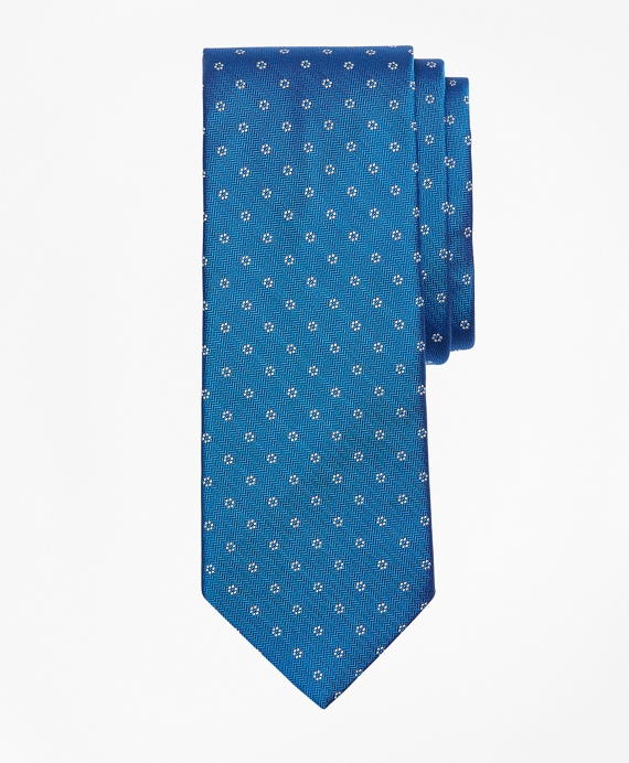 Herringbone Flower Tie Blue