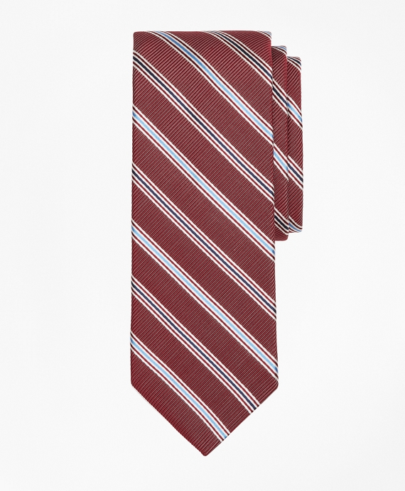 Double Track Stripe Tie Wine