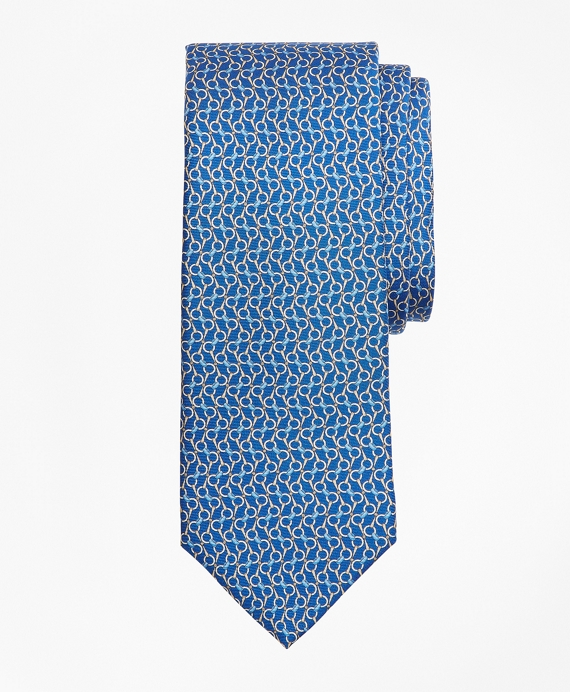 Bit Chain Link Print Tie Blue