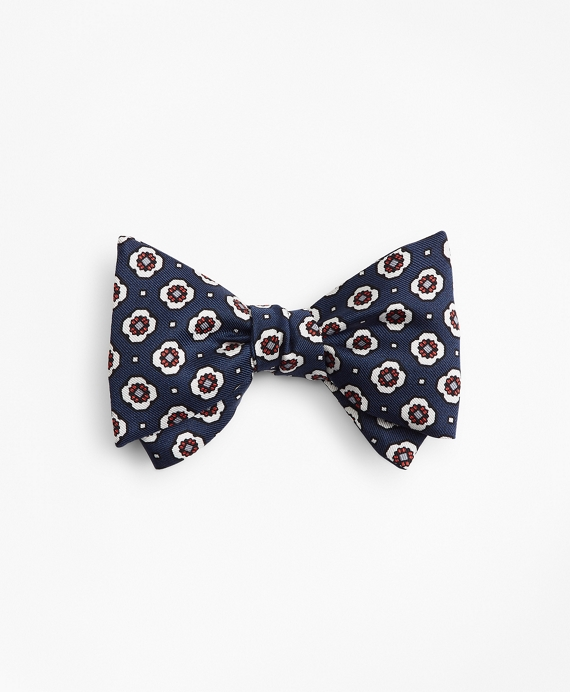 Medallion Print Bow Tie Navy