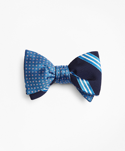 Two-Color Square with Stripe Reversible Bow Tie