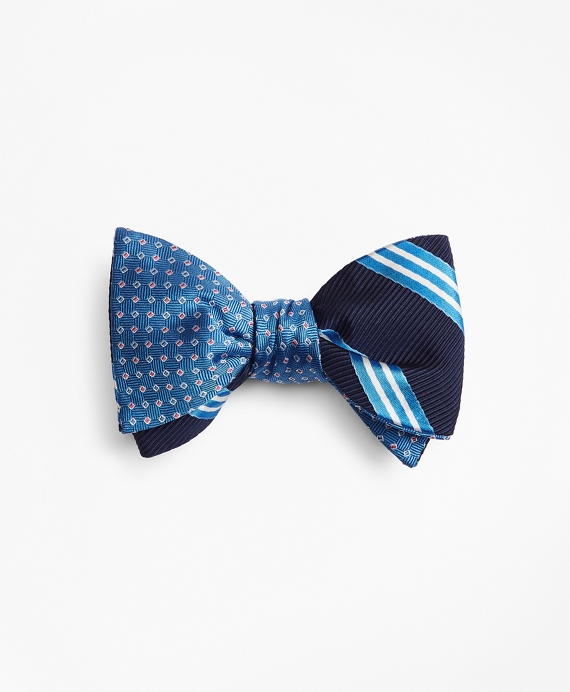 Two-Color Square with Stripe Reversible Bow Tie Blue