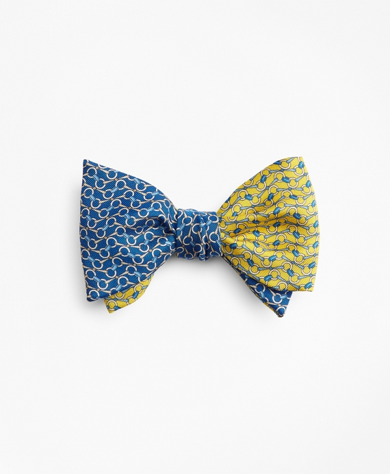 Bit Chain Link Print Reversible Bow Tie Blue-Yellow