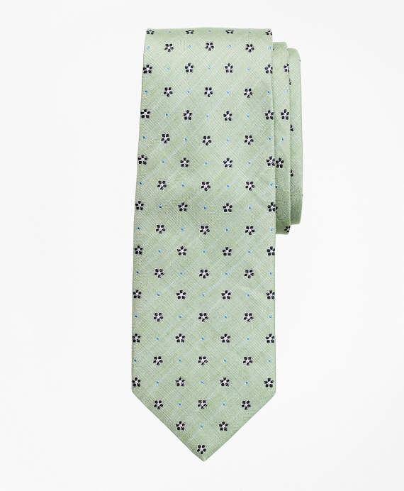 Silk and Linen Flower Tie Green