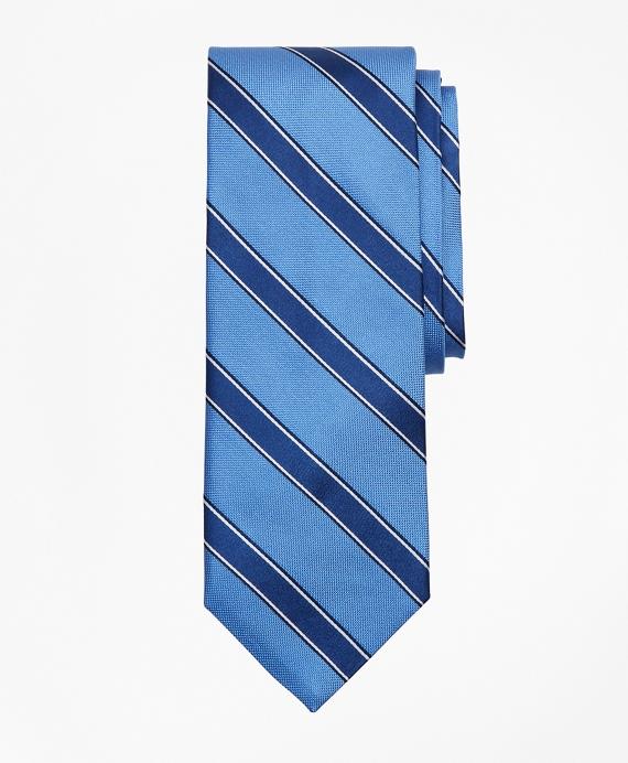 Bold Stripe Print Tie Blue
