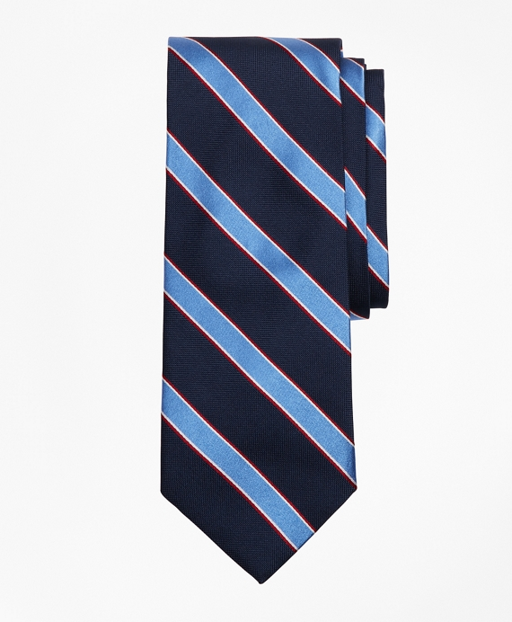 Bold Stripe Print Tie Navy