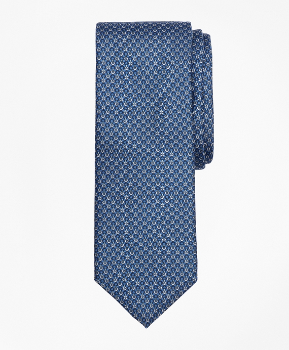 Two-Color Ring Print Tie Blue