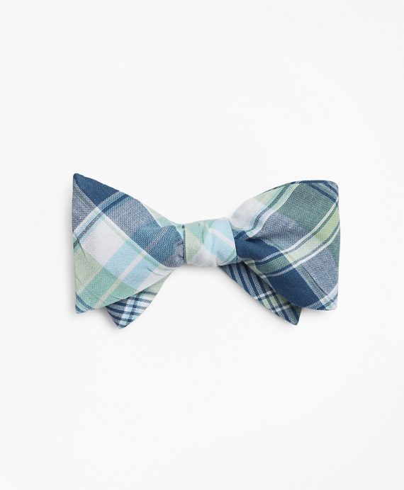 Green Madras Bow Tie Pale Green