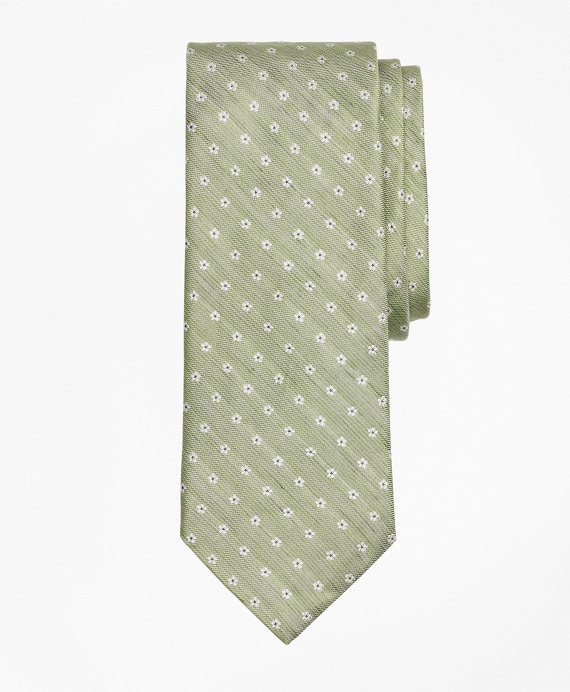 Linen and Silk Floral Tie Green