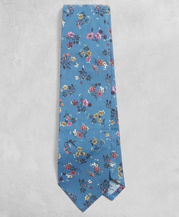 Golden Fleece® Floral-Print Cotton Tie Blue