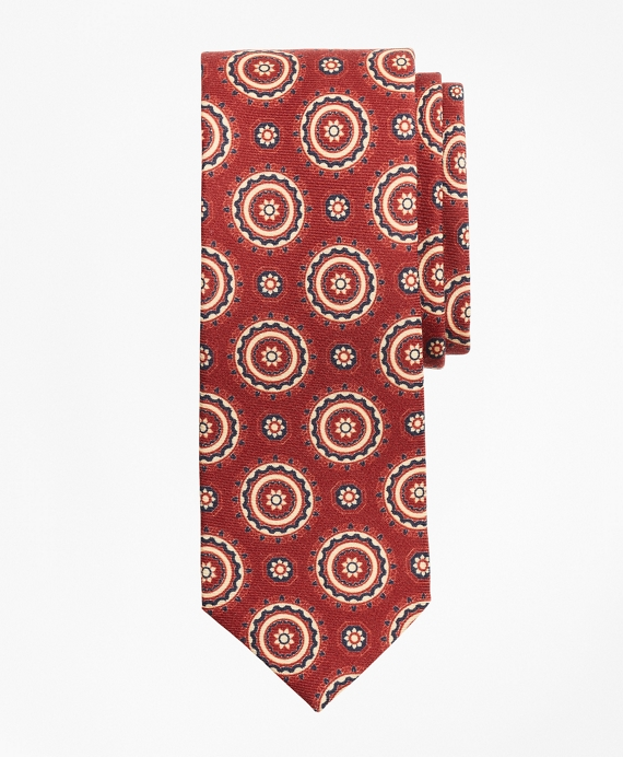 Medallion Print Wool Tie Red