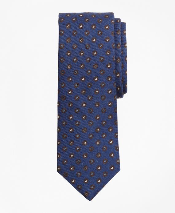 Pine  Print Wool Tie Navy