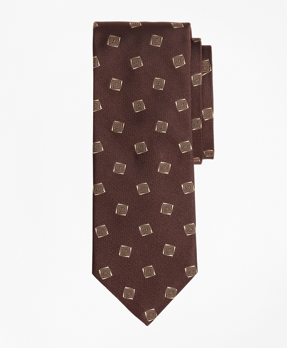 Limited Edition Archival Collection Geometric Silk Jacquard Tie Brown