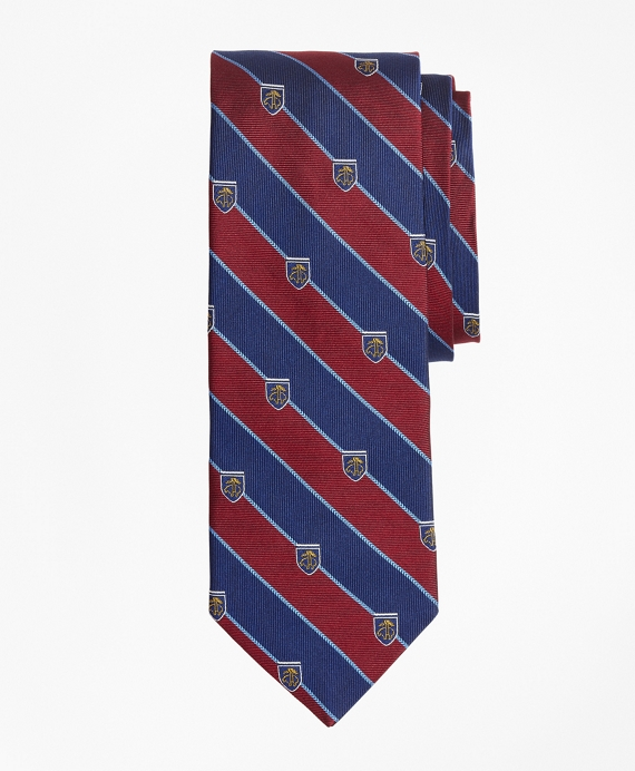 Rugby Stripe Tie with Golden Fleece® Shied Wine