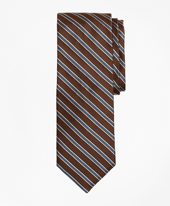 Limited Edition Archival Collection Striped Rep Silk Tie Brown