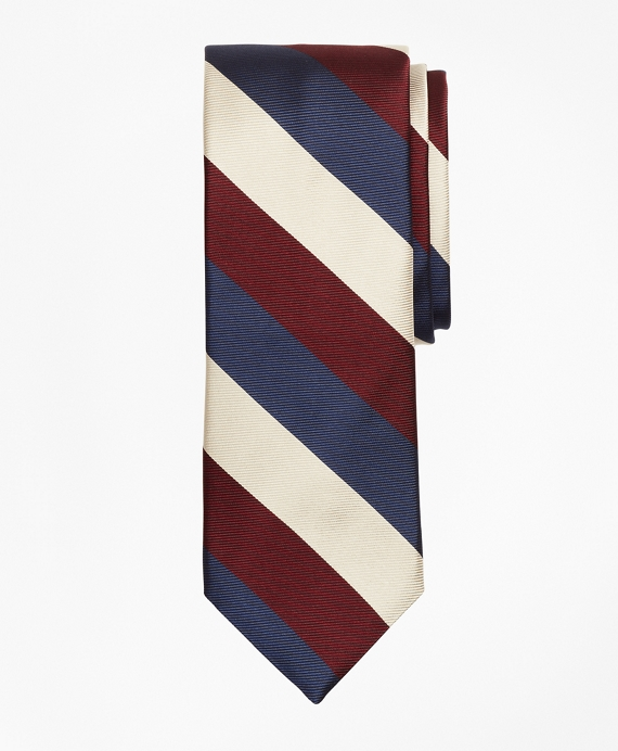 Limited Edition Archival Collection Wide-Striped Rep Silk Tie Wine