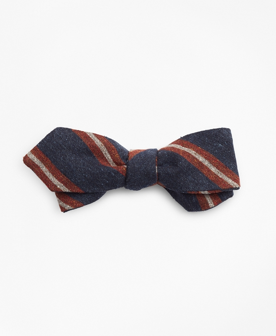 Donegal Stripe Pointed Bow Tie Navy