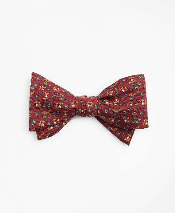 Fox Print Bow Tie Wine