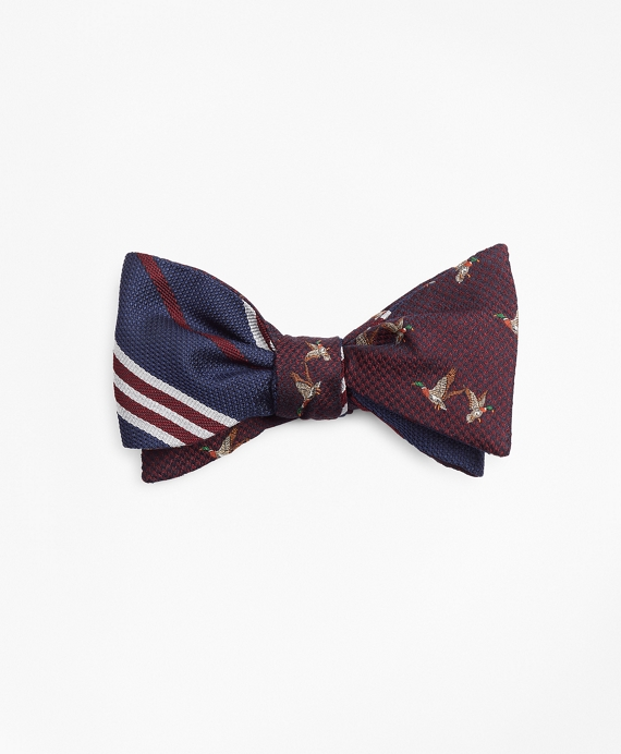 Flying Ducks with BB#1 Stripe Reversible Bow Tie Wine