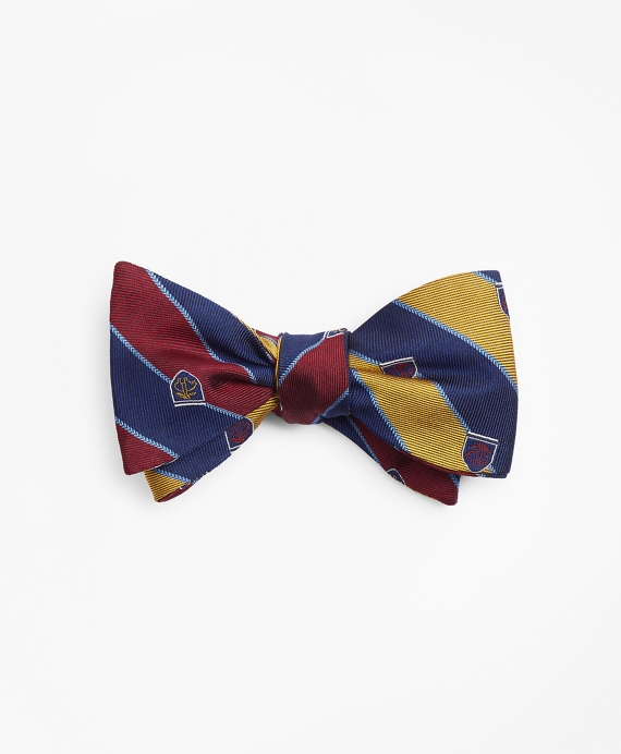 Rugby Stripe with Fleece Shield Reversible Bow Tie Wine