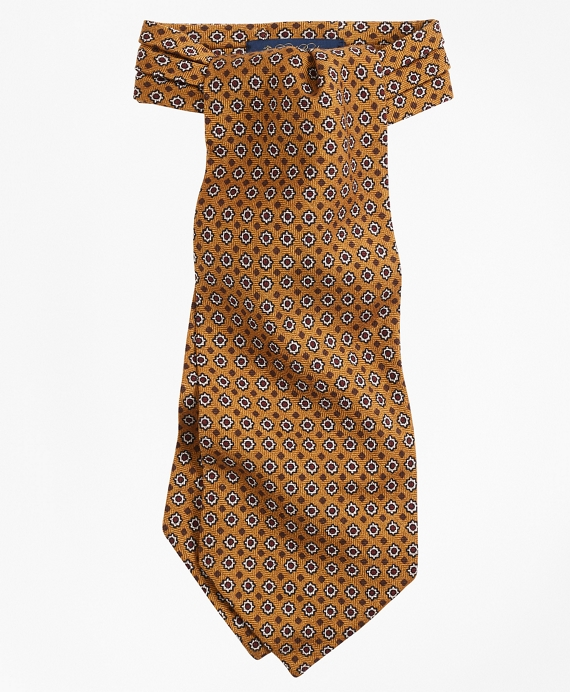 Neat Floral Print Ascot Gold