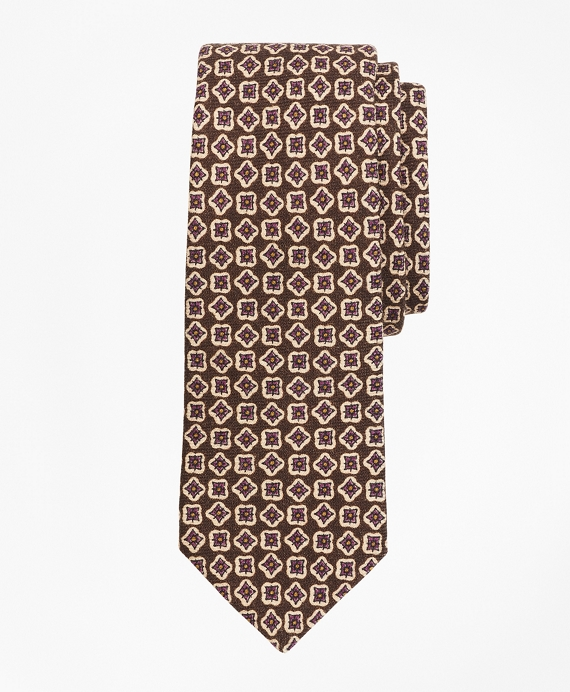 Wool Neat Print Tie Brown