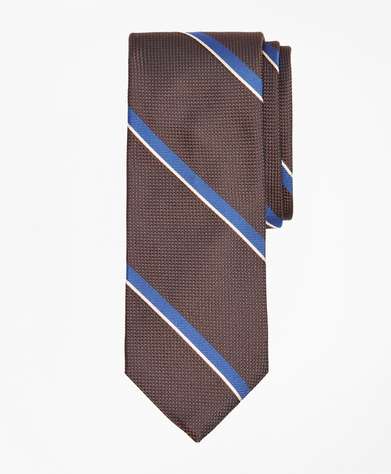 Wide Stripe Tie Brown