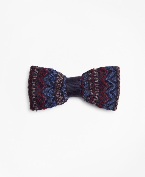 Fair Isle Pre-Tied Knit Bow Tie Navy