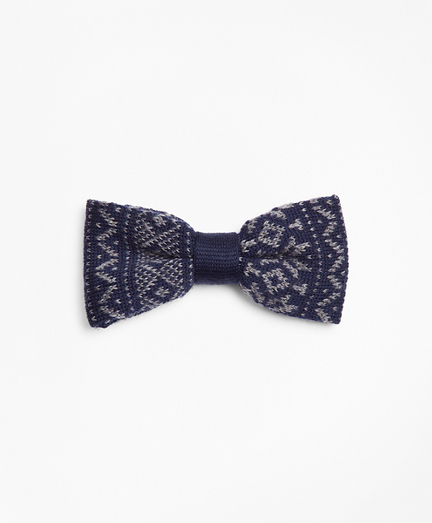 Fair Isle Pre-Tied Knit Bow Tie