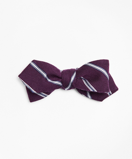 Stripe Pointed End Bow Tie