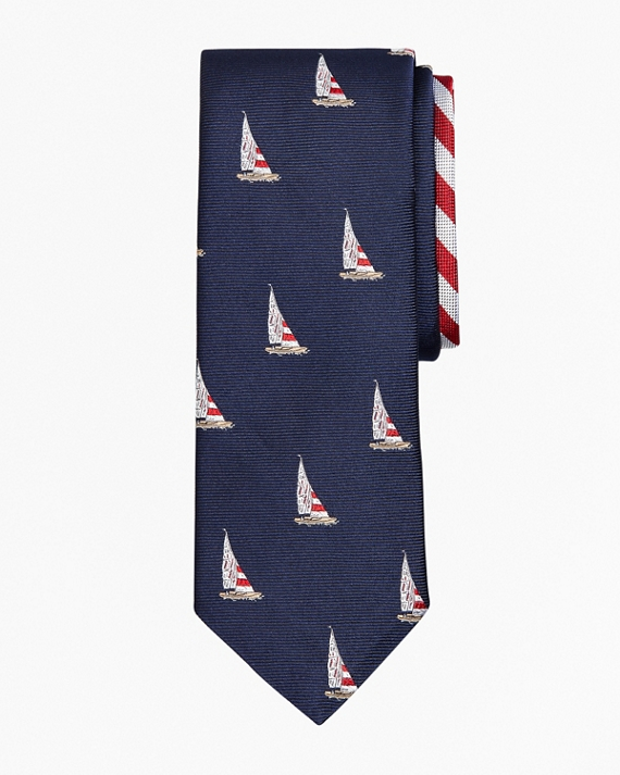 Sailboat and Stripe Tie Navy