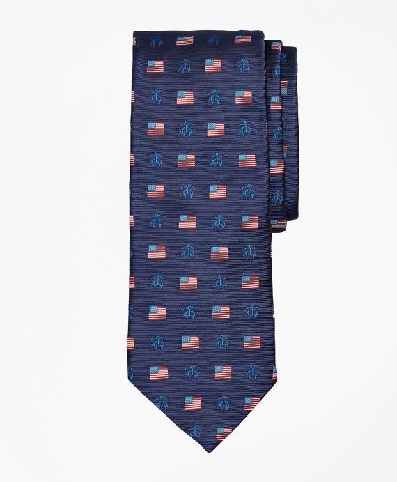 American Flag and Fleece Tie Navy