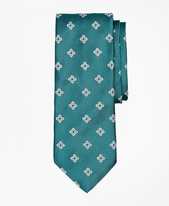 Open Neat Floral Tie Teal