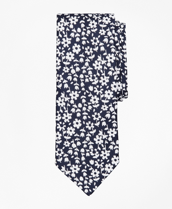 Heathered Floral Tie Black