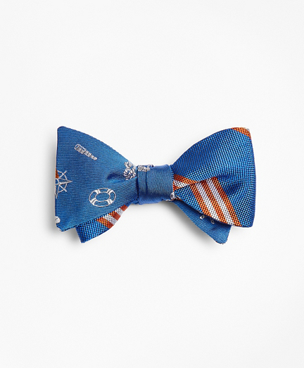 Nautical with Stripe Reversible Bow Tie