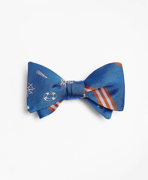 Nautical with Stripe Reversible Bow Tie Blue