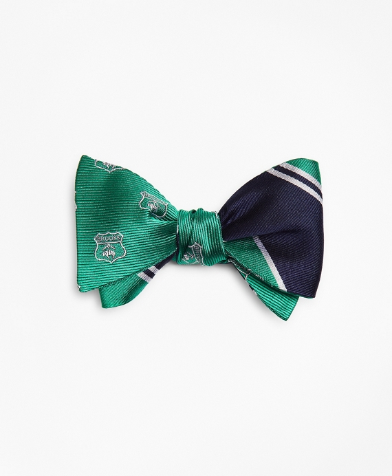 Crest with Stripe Reversible Bow Tie Green