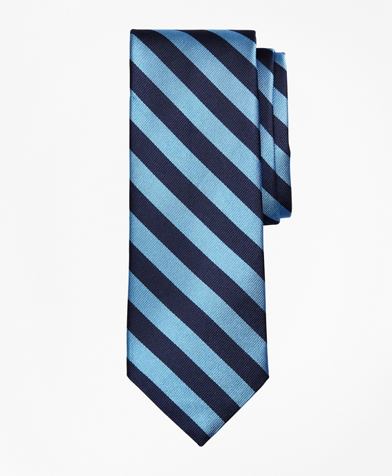 Limited Edition Archival Collection BB#4 Striped Rep with Crest Silk Tie Blue