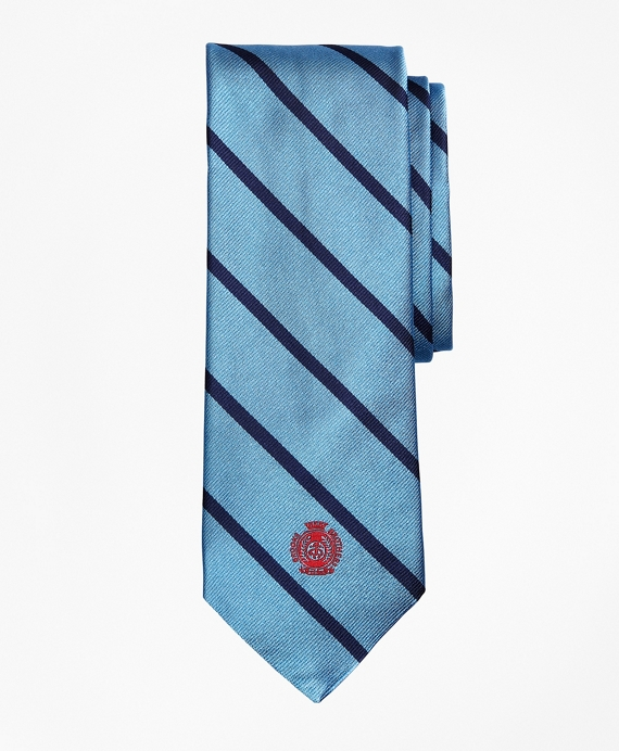 Limited Edition Archival Collection BB#3 Striped Rep with Crest Silk Tie Light Blue