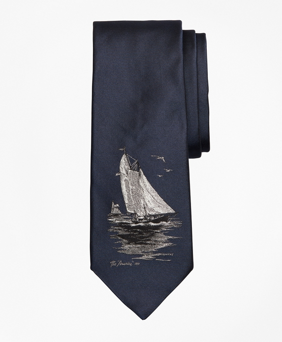 Limited Edition Archival Collection Sail Boat Motif Silk Tie Navy