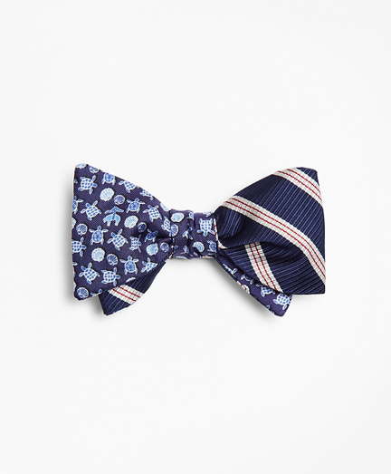Stripe with Sea Turtles Reversible Bow Tie