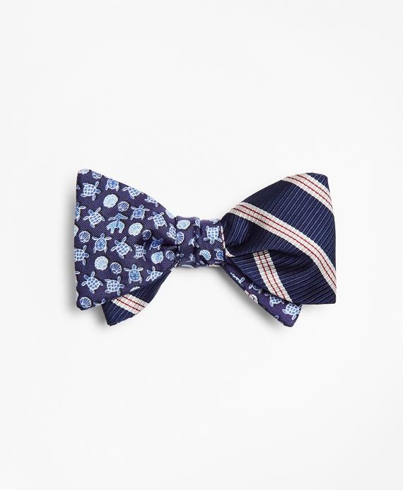 Stripe with Sea Turtles Reversible Bow Tie Navy