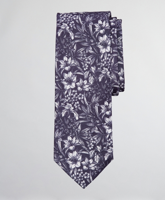 Silk and Linen Floral Tie Navy