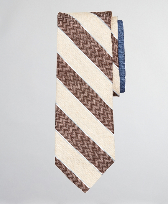 Silk and Linen Texture Stripe with Dot Tie Brown